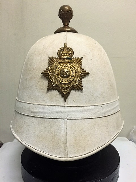 4ba4f723b4daa A scarce ROYAL MARINE Foreign Service Helmet post 1905 when the Home  Service Helmet was discontinued for the Marines. Classic six panels of  white cloth with ...